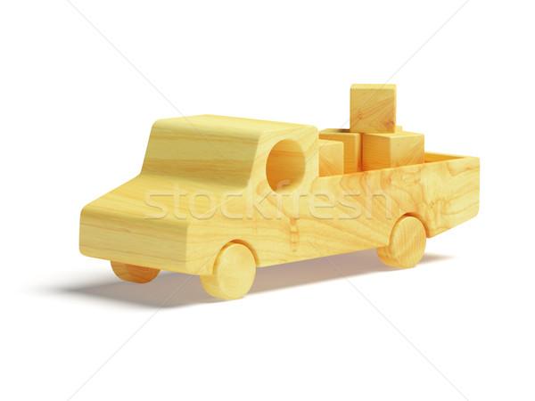 Houten speelgoed vrachtwagen witte speelgoed schone hout Stockfoto © filipok