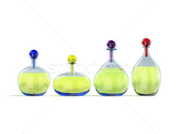 ガラス 液体 白 3D 画像 青 ストックフォト © filipok