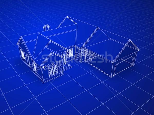 Blauwdruk huis stijl 3D gerenderd witte Stockfoto © filmstroem