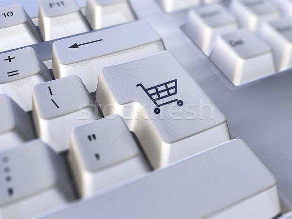 электронной коммерции клавиатура ключевые Корзина икона Сток-фото © filmstroem