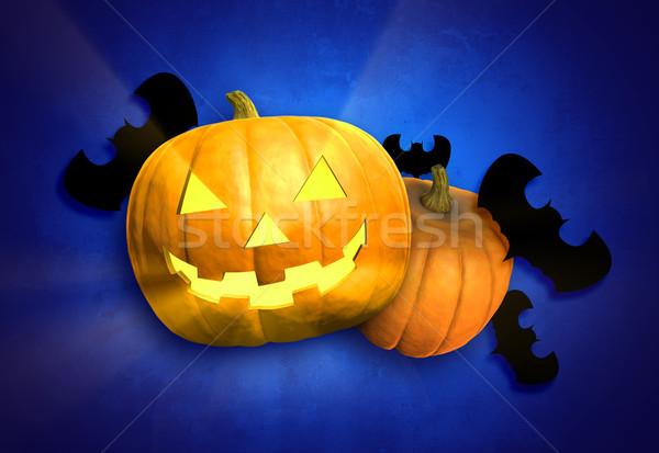 Хэллоуин тыква Bat украшения синий Сток-фото © filmstroem