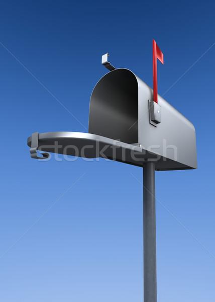 Nyitva postaláda fém postaláda kiemelt zászló Stock fotó © filmstroem