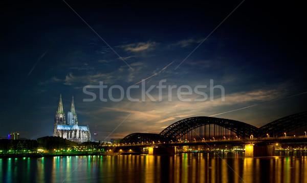 Skyline Германия ночь известный собора Сток-фото © filmstroem