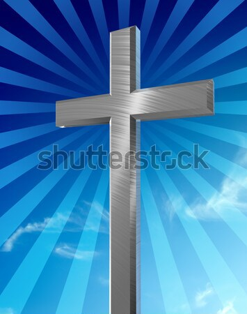 святой крест серебро синий градиент Сток-фото © filmstroem