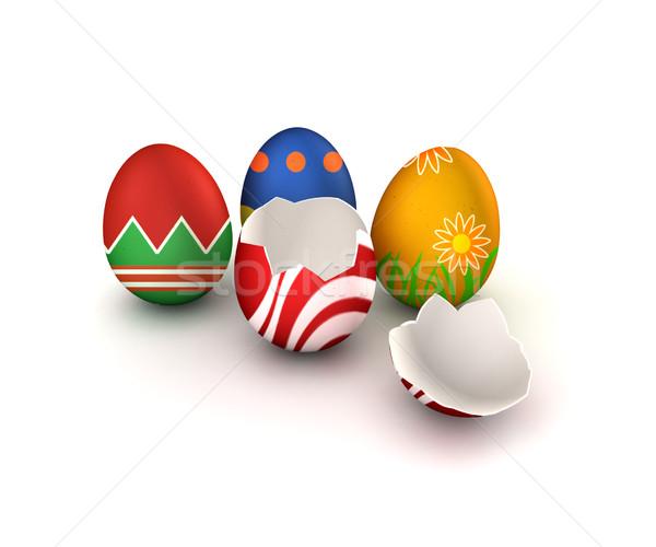 пасхальных яиц красочный один сломанной изолированный белый Сток-фото © filmstroem