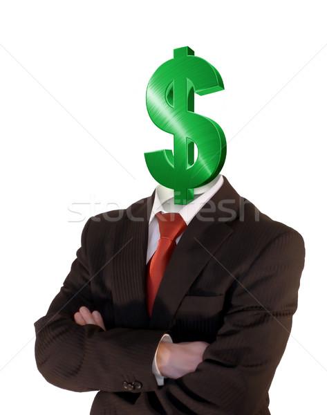 знак доллара деловой человек менеджера зеленый доллара символ Сток-фото © filmstroem