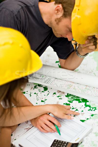 документы мужчины женщины архитектора строители карт Сток-фото © filmstroem