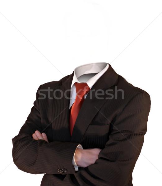 деловой человек голову оружия изолированный белый бизнеса Сток-фото © filmstroem