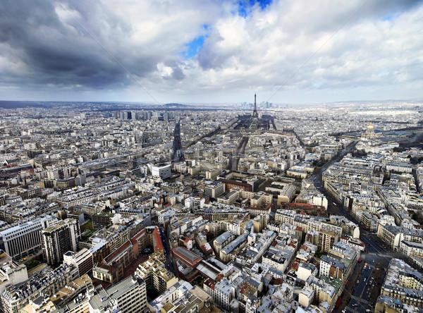 Париж Эйфелева башня горизонте облака Сток-фото © filmstroem