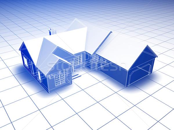 3D план дома стиль оказанный синий Сток-фото © filmstroem