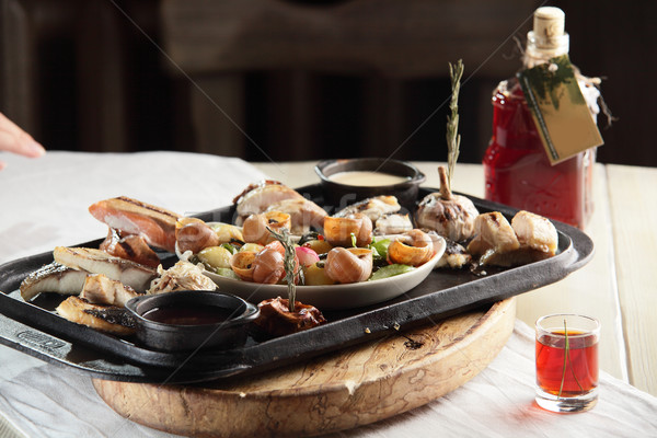Et garnitür sıcak lezzetli gıda restoran Stok fotoğraf © fiphoto