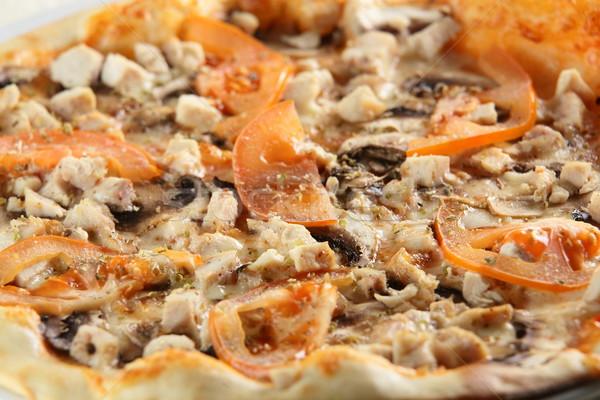 Sıcak lezzetli İtalyan pizza peynir sos Stok fotoğraf © fiphoto