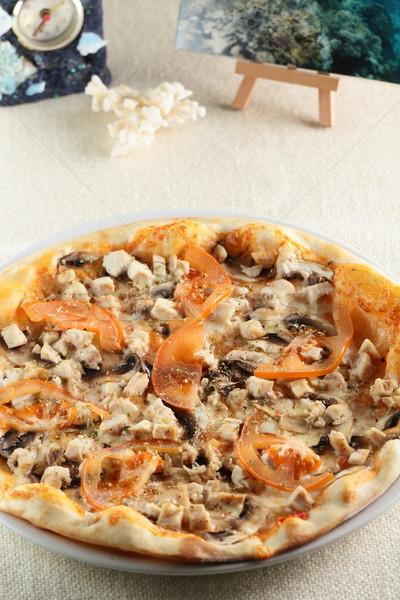 Taze sıcak pizza tablo gıda restoran Stok fotoğraf © fiphoto