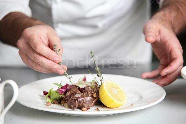 Pişirmek beyaz yemek taze lezzetli salata Stok fotoğraf © fiphoto