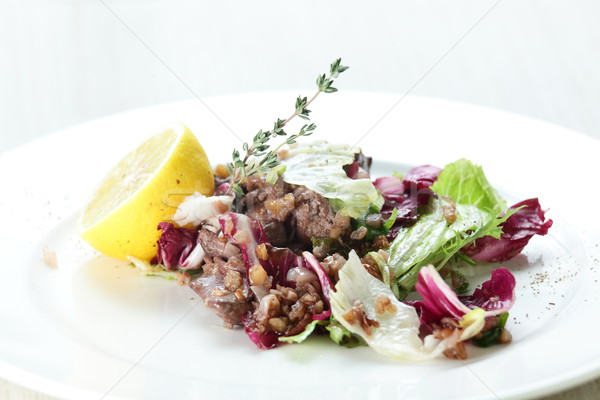 Taze lezzetli salata beyaz yemek mutfak Stok fotoğraf © fiphoto