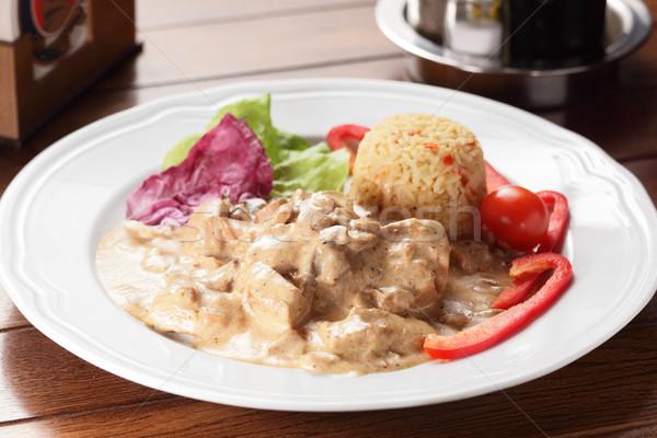 Vlees garnering vers smakelijk voedsel restaurant Stockfoto © fiphoto