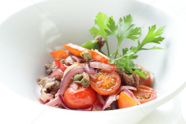 Taze salata lezzetli beyaz yemek mutfak Stok fotoğraf © fiphoto
