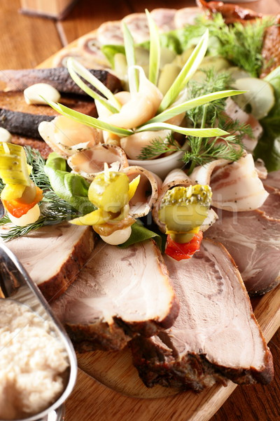 peaces of meat with garnish Stock photo © fiphoto