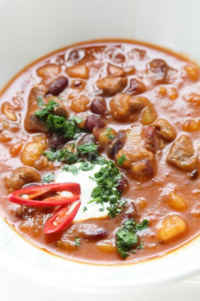 çorba beyaz yemek sıcak ahşap masa gıda Stok fotoğraf © fiphoto