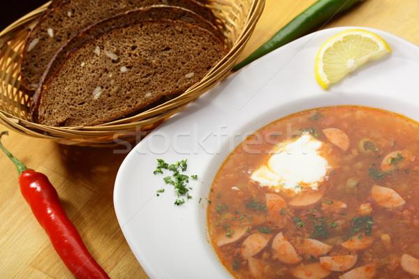 Fresco quente sopa saboroso salsichas limão Foto stock © fiphoto
