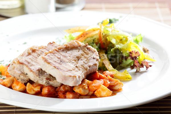 新鮮な サラダ 肉 おいしい 木製のテーブル フルーツ ストックフォト © fiphoto