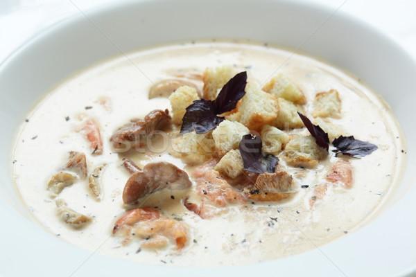 スープ 白 皿 ホット 木製のテーブル 食品 ストックフォト © fiphoto