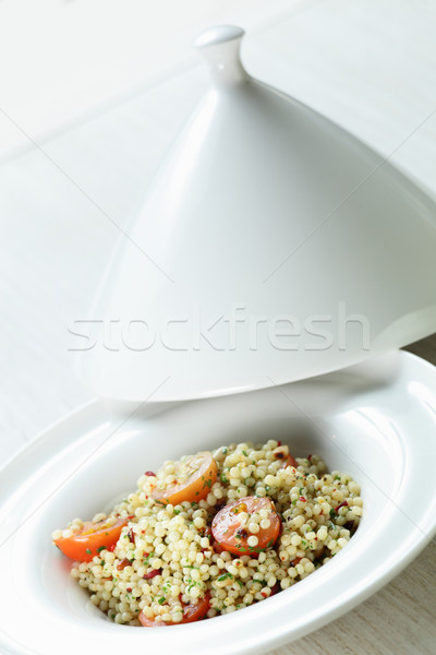 Branco prato mesa de madeira comida trigo prato Foto stock © fiphoto