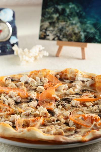 Fresco quente pizza tabela comida restaurante Foto stock © fiphoto