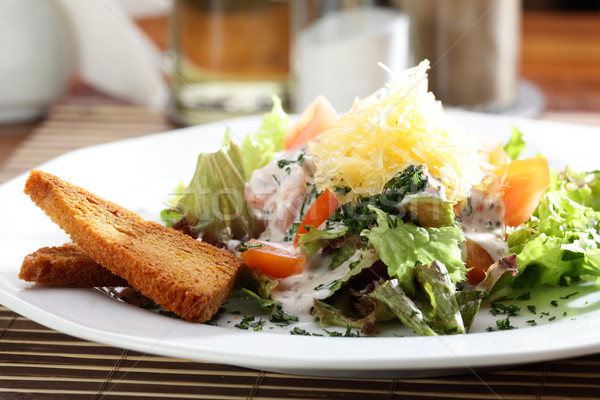 Fresco salada saboroso mesa de madeira primavera madeira Foto stock © fiphoto