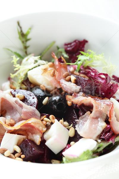 Taze salata lezzetli beyaz yemek yaprakları Stok fotoğraf © fiphoto