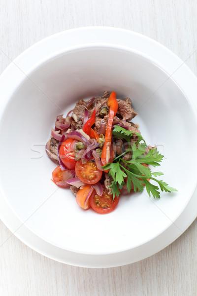 Fresco salada saboroso branco prato cozinha Foto stock © fiphoto
