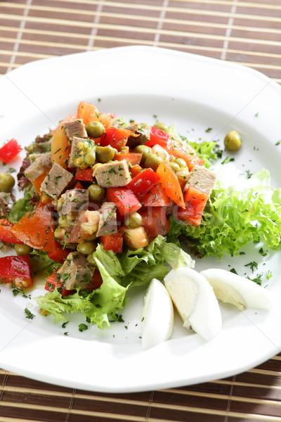 Foto stock: Fresco · salada · saboroso · mesa · de · madeira · folha · verde