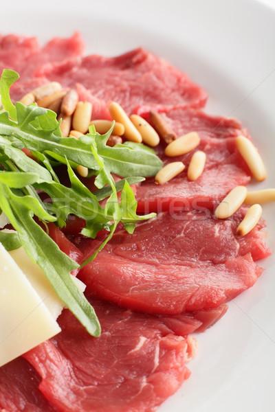 мяса гарнир горячей вкусный продовольствие зеленый Сток-фото © fiphoto