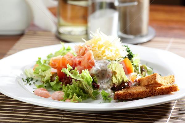 新鮮な サラダ おいしい 木製のテーブル 春 木材 ストックフォト © fiphoto