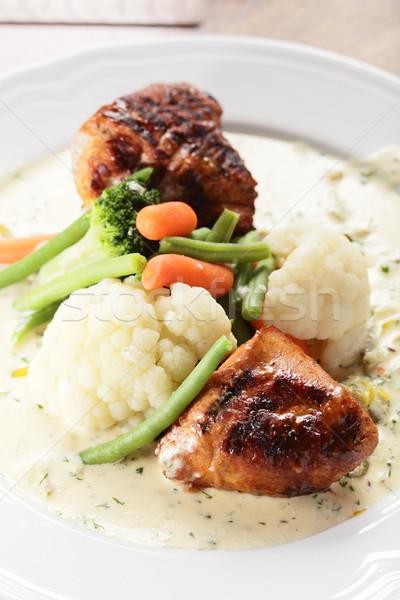 мяса гарнир горячей вкусный продовольствие ресторан Сток-фото © fiphoto