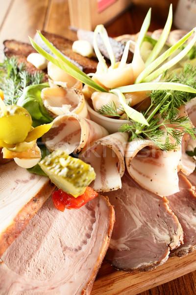 Carne enfeite fresco saboroso comida verde Foto stock © fiphoto