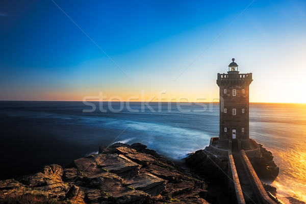 Kermorvan Lighthouse before sunset, Brittany, France Stock photo © fisfra