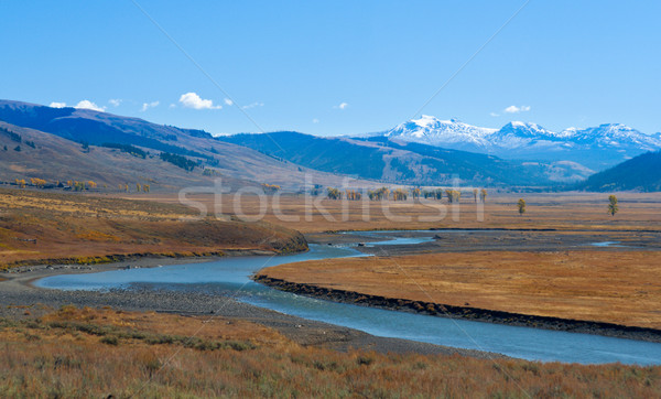 Gardner River with snowcapped mountains, Yellowstone National Park, Wyoming, USA Stock photo © fisfra
