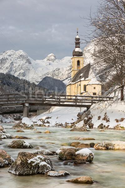 Templom Alpok természet hó tél híd Stock fotó © fisfra