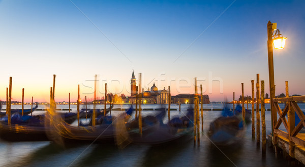 Gondolas at sunrise with San Giorgio di Maggiore church, Venice, Stock photo © fisfra
