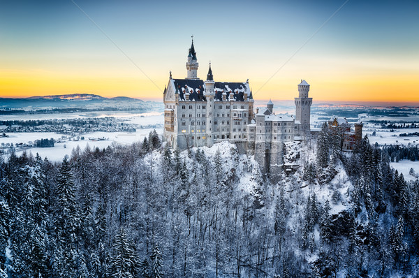 Neuschwanstein Castle at sunset in winter landscape. Germany Stock photo © fisfra