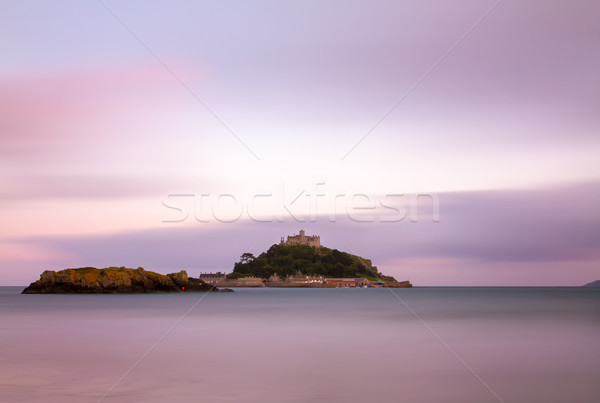 St. Michaels Mount at dusk with violett skies, Cornwall, England Stock photo © fisfra