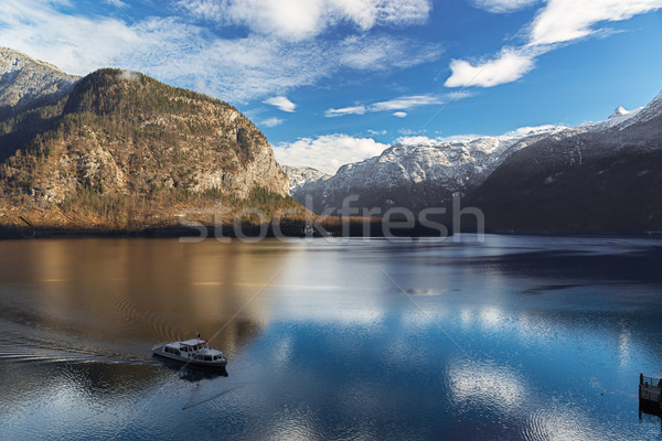Lake Hallstatt in Alps with Ferry, Salzkammergut, Austria Stock photo © fisfra
