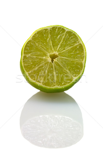 Sliced isolated green lemon (lat. Citrus) - 'Eureka' Stock photo © fisfra
