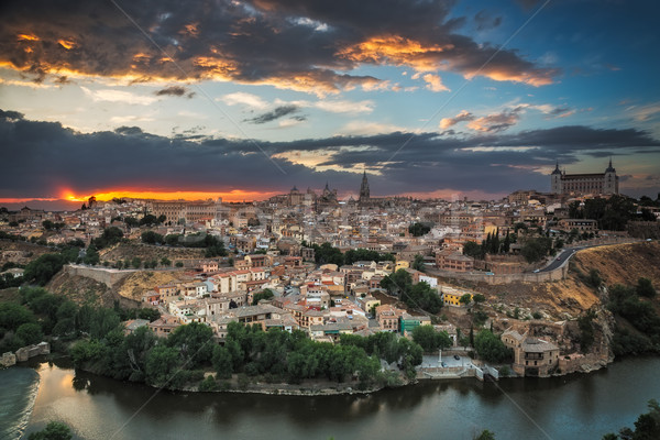 Panoramic view of Toledo at dusk, Castile-La Mancha, Spain Stock photo © fisfra