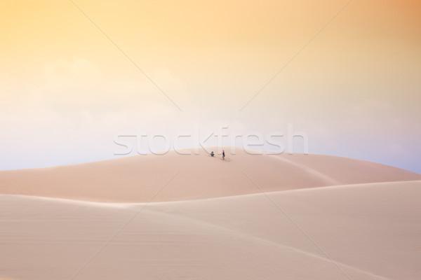 Pustyni biały piasek Wietnam streszczenie charakter krajobraz Zdjęcia stock © fisfra