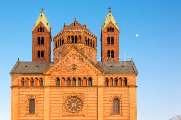 Katedrális napos idő Németország hold nyár narancs Stock fotó © fisfra