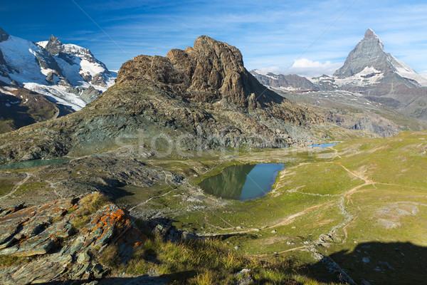 Panoráma Alpok Svájc víz természet zöld Stock fotó © fisfra