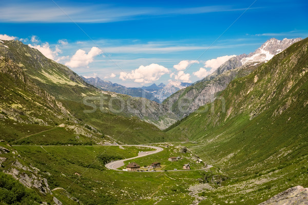 Stock photo: Winding pass road at Gotthard, Andermatt, Switzerland