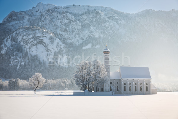 St. Coloman with trees in wintery landscape, Alps, Germany Stock photo © fisfra